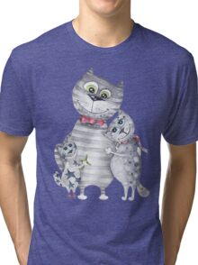 Cute Cat Family Painting  Tri-blend T-Shirt