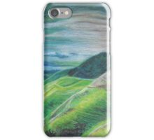 Green Hills Oil Pastel Drawing iPhone Case/Skin