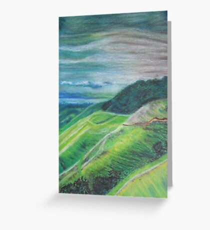 Green Hills Oil Pastel Drawing Greeting Card
