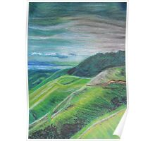 Green Hills Oil Pastel Drawing Poster