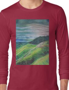 Green Hills Oil Pastel Drawing Long Sleeve T-Shirt