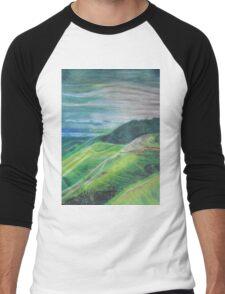 Green Hills Oil Pastel Drawing Men's Baseball ¾ T-Shirt