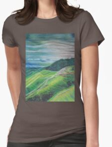 Green Hills Oil Pastel Drawing Womens Fitted T-Shirt