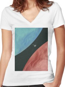 Earth collides with Mars Women's Fitted V-Neck T-Shirt