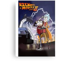 Rick And Morty Back To The Future Mash-Up Metal Print