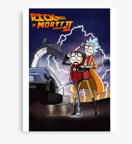 Rick And Morty Back To The Future Mash-Up Canvas Print