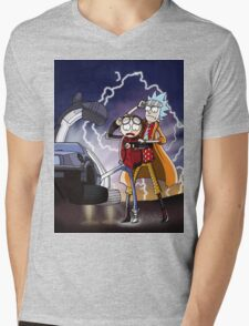 Rick And Morty Back To The Future Mash-Up Mens V-Neck T-Shirt
