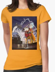 Rick And Morty Back To The Future Mash-Up Womens Fitted T-Shirt