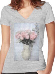 Love Silently - Flower Art Women's Fitted V-Neck T-Shirt