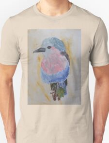 Grey, Pink and Blue Bird Watercolor Painting T-Shirt