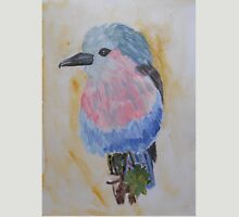 Grey, Pink and Blue Bird Watercolor Painting Unisex T-Shirt