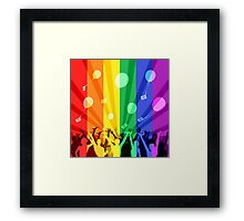 Happy people launch balloons Framed Print