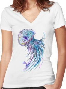 Jelly fish watercolor and ink painting Women's Fitted V-Neck T-Shirt