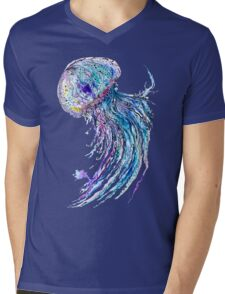 Jelly fish watercolor and ink painting Mens V-Neck T-Shirt