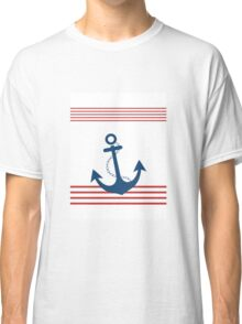 Nautical Striped Design with Anchor Classic T-Shirt