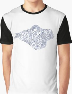 Hand drawn Isle of Wight map - navy blue Graphic T-Shirt
