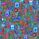 Little Owls and Flowers on Grey by micklyn