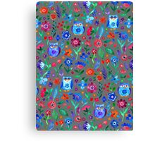 Little Owls and Flowers on Grey Canvas Print