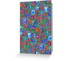 Little Owls and Flowers on Grey Greeting Card