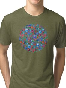 Little Owls and Flowers on Grey Tri-blend T-Shirt