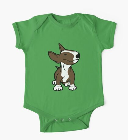 English Bull Terrier Pup Brown  One Piece - Short Sleeve