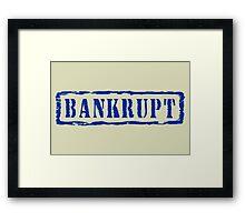 Bankrupt, retro blue stamp Framed Print