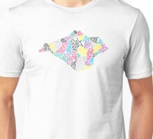 Hand drawn Isle of Wight map - multicoloured Unisex T-Shirt