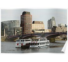 Boats At Lambeth Bridge Poster