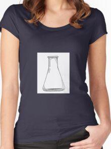 Black And White Chemistry Beaker Women's Fitted Scoop T-Shirt