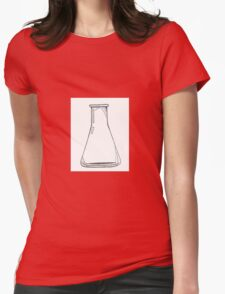 Black And White Chemistry Beaker Womens Fitted T-Shirt
