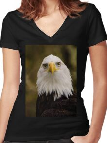 Portrait of a Bald Eagle Women's Fitted V-Neck T-Shirt