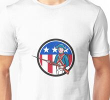 American Revolutionary Soldier USA Flag Circle Cartoon Unisex T-Shirt