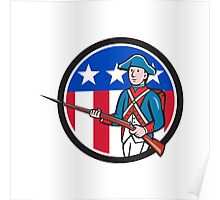 American Revolutionary Soldier USA Flag Circle Cartoon Poster