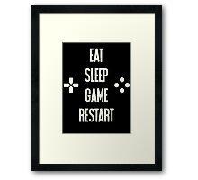 Eat Sleep Game Restart Video Gaming T Shirt  Framed Print