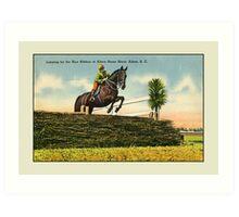 Vintage horse jumping, Aiken Horse Show, SC Art Print