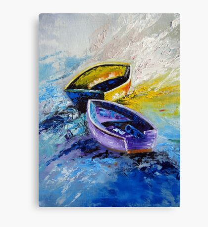 Twins Boat Purple and Yellow Canvas Print