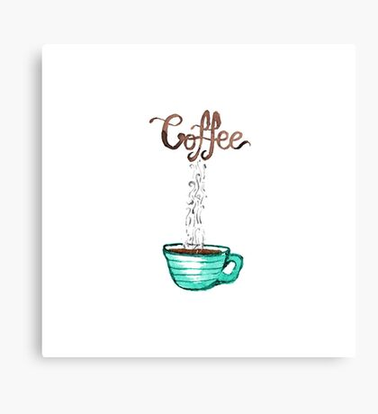 Cute Watercolor Steamy Cup of Coffee Canvas Print