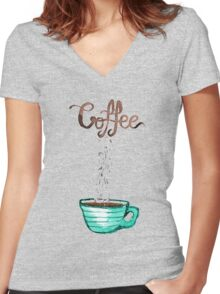 Cute Watercolor Steamy Cup of Coffee Women's Fitted V-Neck T-Shirt