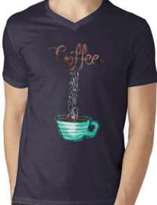 Cute Watercolor Steamy Cup of Coffee Mens V-Neck T-Shirt