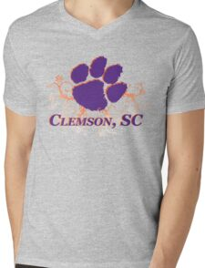 Clemson Swirl Mens V-Neck T-Shirt