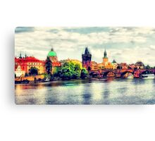Prague bridge watercolor Canvas Print