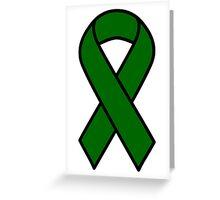 Emerald Green Liver Cancer Ribbon Greeting Card