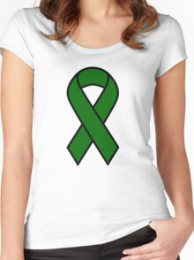 Emerald Green Liver Cancer Ribbon Women's Fitted Scoop T-Shirt