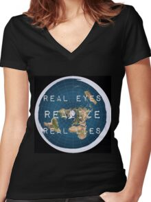 Flat earth flat is fact Women's Fitted V-Neck T-Shirt