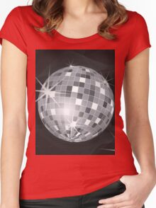 silver disco ball Women's Fitted Scoop T-Shirt
