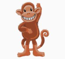 Cute little HAIRY Monkey waving hello One Piece - Short Sleeve