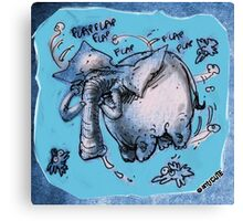 cartoon style flying elephant Canvas Print