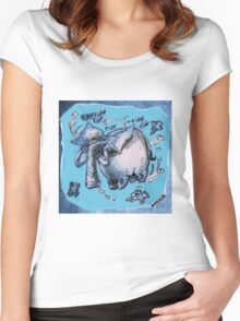 cartoon style flying elephant Women's Fitted Scoop T-Shirt