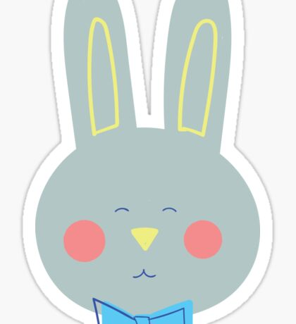 Happy Grey Bunny Sticker
