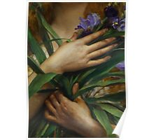 Woman Holding Irises, French Pre-Raphaelite painting Poster